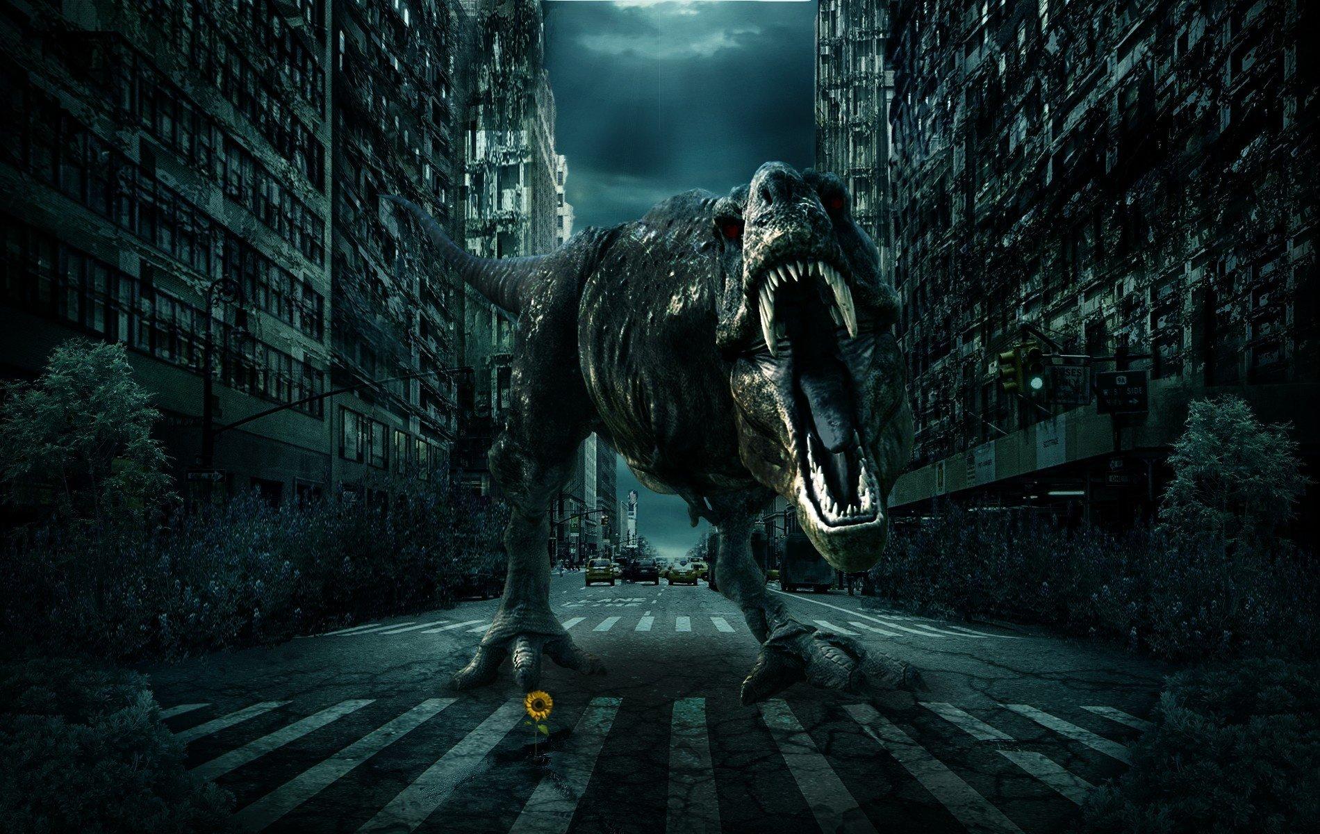 City road dinosaur 3d fantasy monster wallpaper 1900x1200 357906 1900x1200