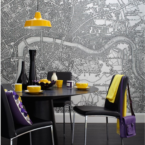 Map print wallpaper and yellow and purple accents Dining rooms 550x550