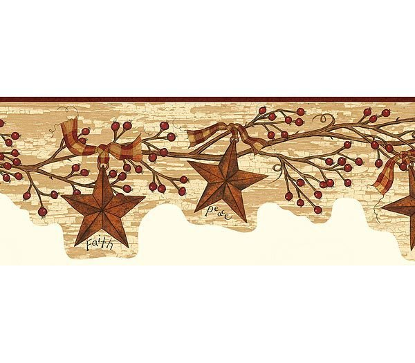 Burgundy Tin Star Garland Wallpaper Border 600x525