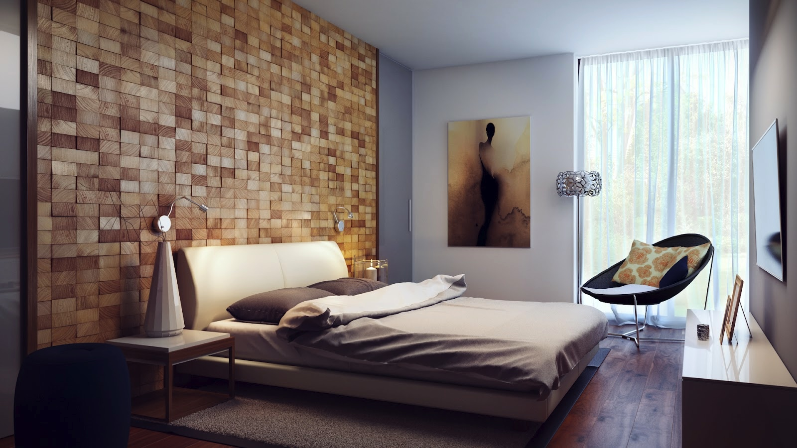 Contemporary Wood Block Headboard Wall Design liftupthyneighborcom 1600x900