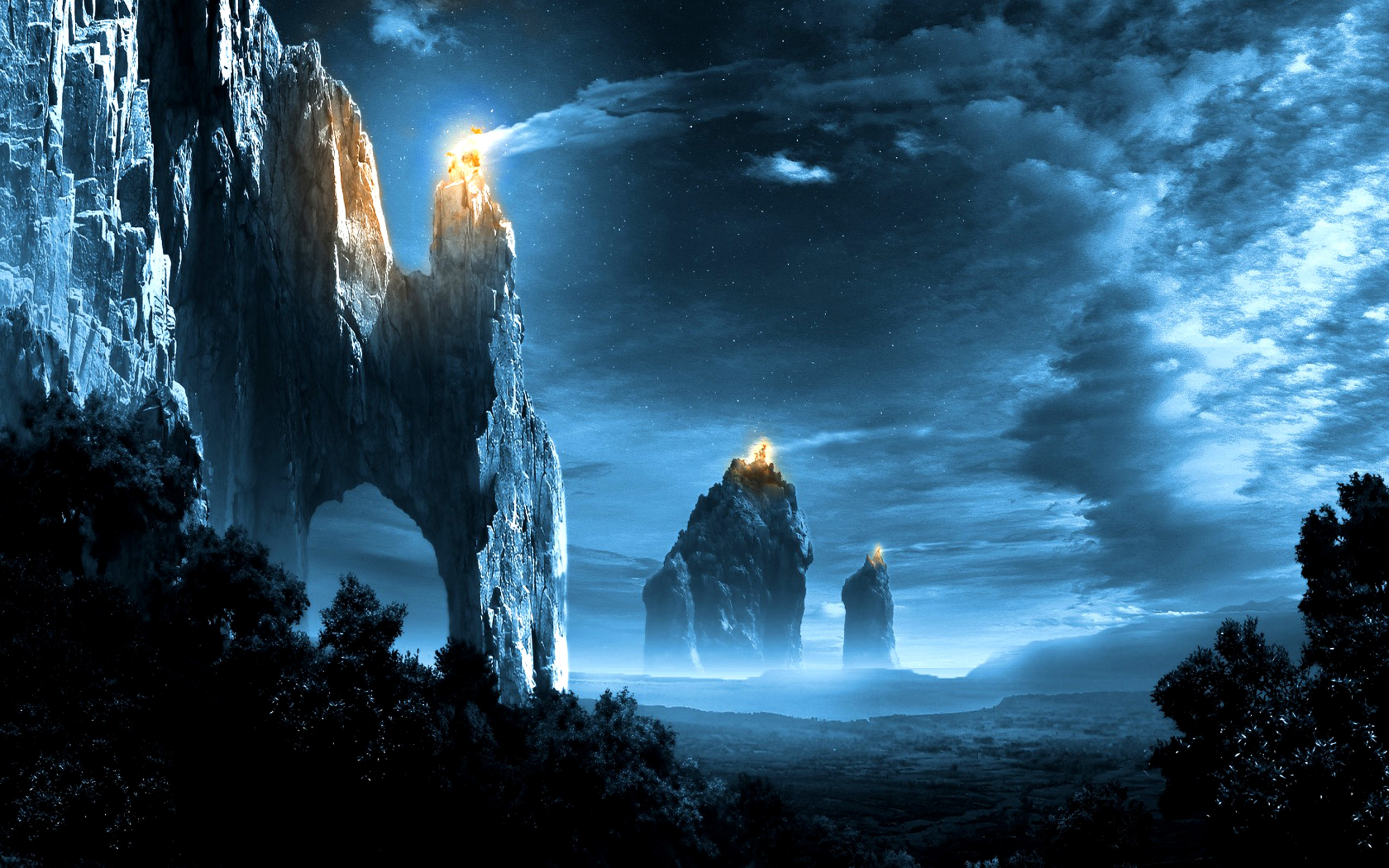 Fantasy Dark Night Mountains HD Wallpapers 2560x1600