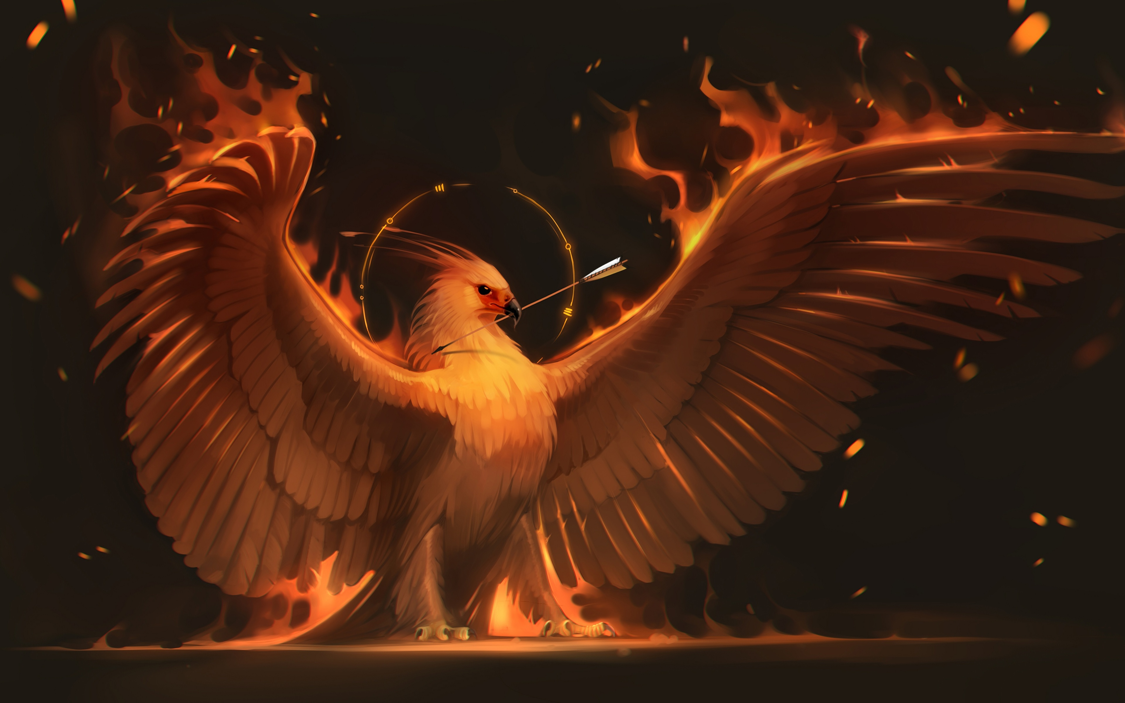 Wallpapers Birds Phoenix mythology Wings Fantasy Flame 3840x2400 3840x2400