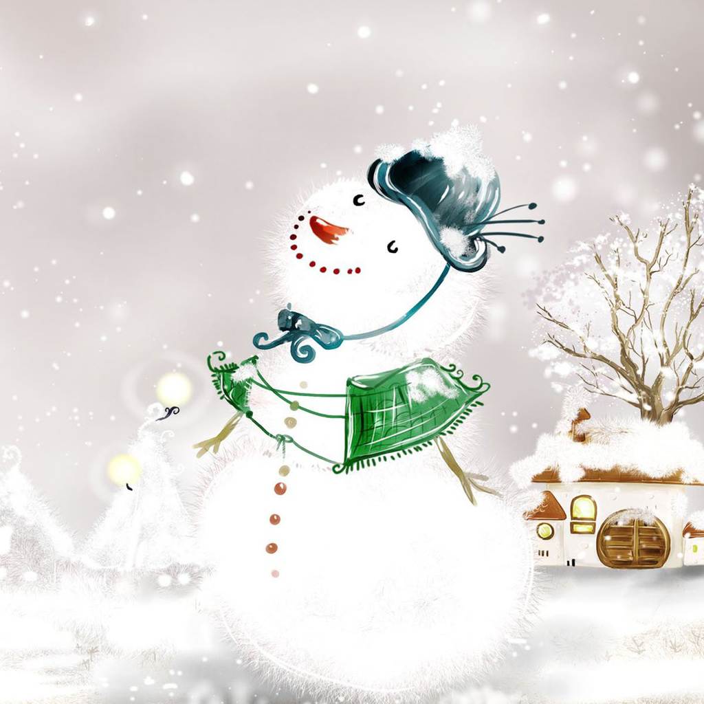 iPad Wallpapers Download Christmas Snowman iPad mini Wallpapers 1024x1024