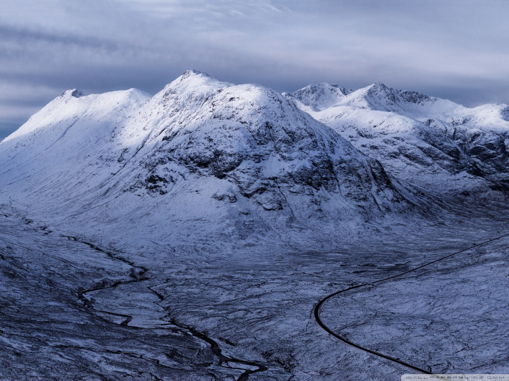 Glencoe Highlands Of Scotland Winter 4K HD Desktop Wallpaper 1024x768
