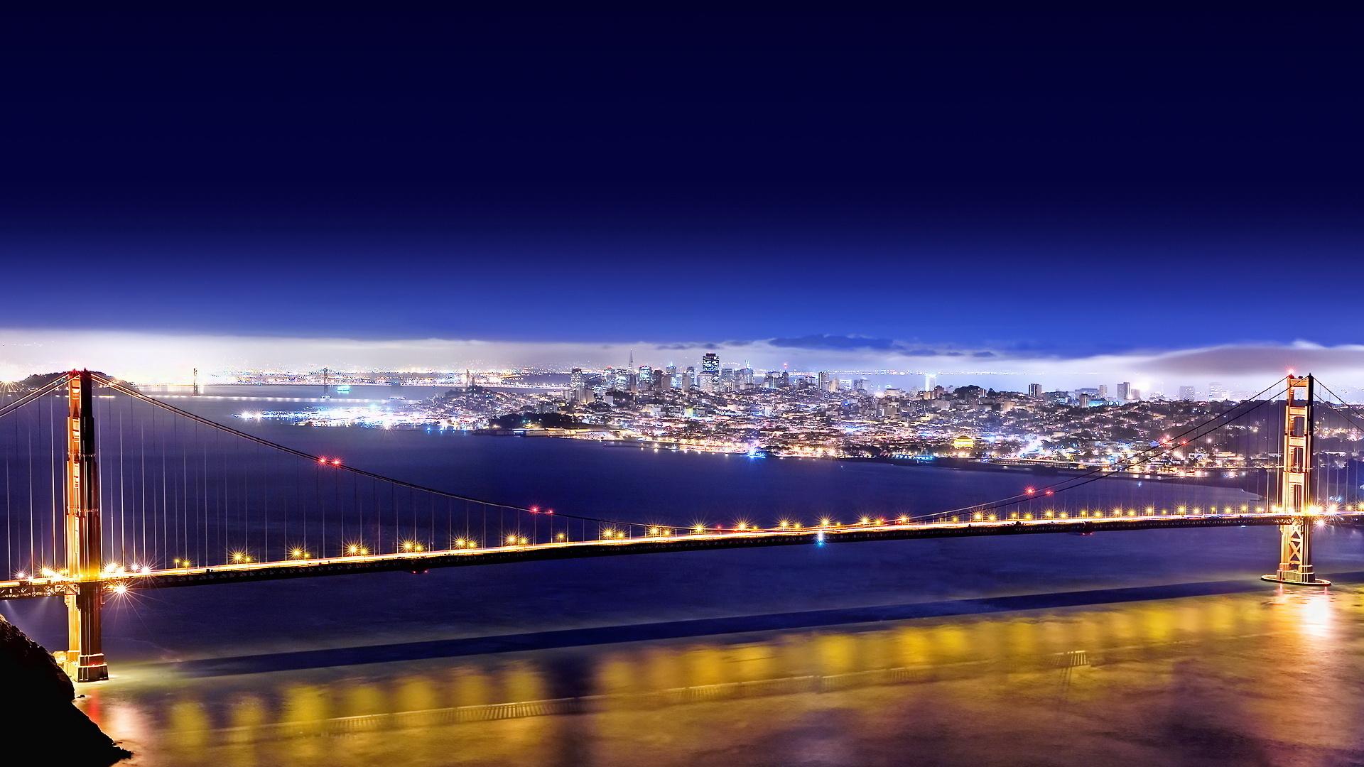 Wallpaper Golden Gate Bridge San Francisco night City Wide 1920x1080 1920x1080