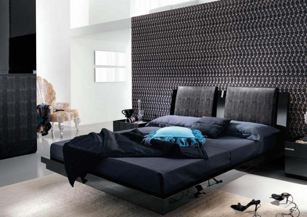 black interior Bedroom Design Ideas Mosaic Wallpaper Modern Bedroom 1000x706
