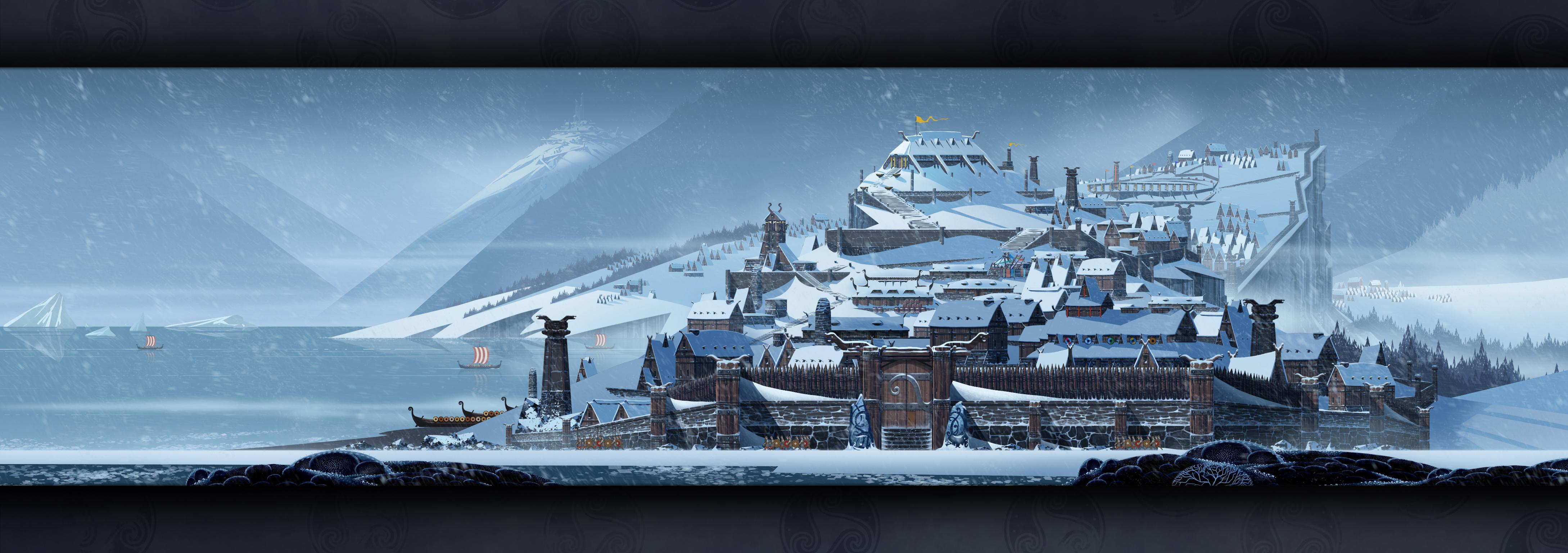 The Banner Saga New Wallpaper City of Strand 4357x1536