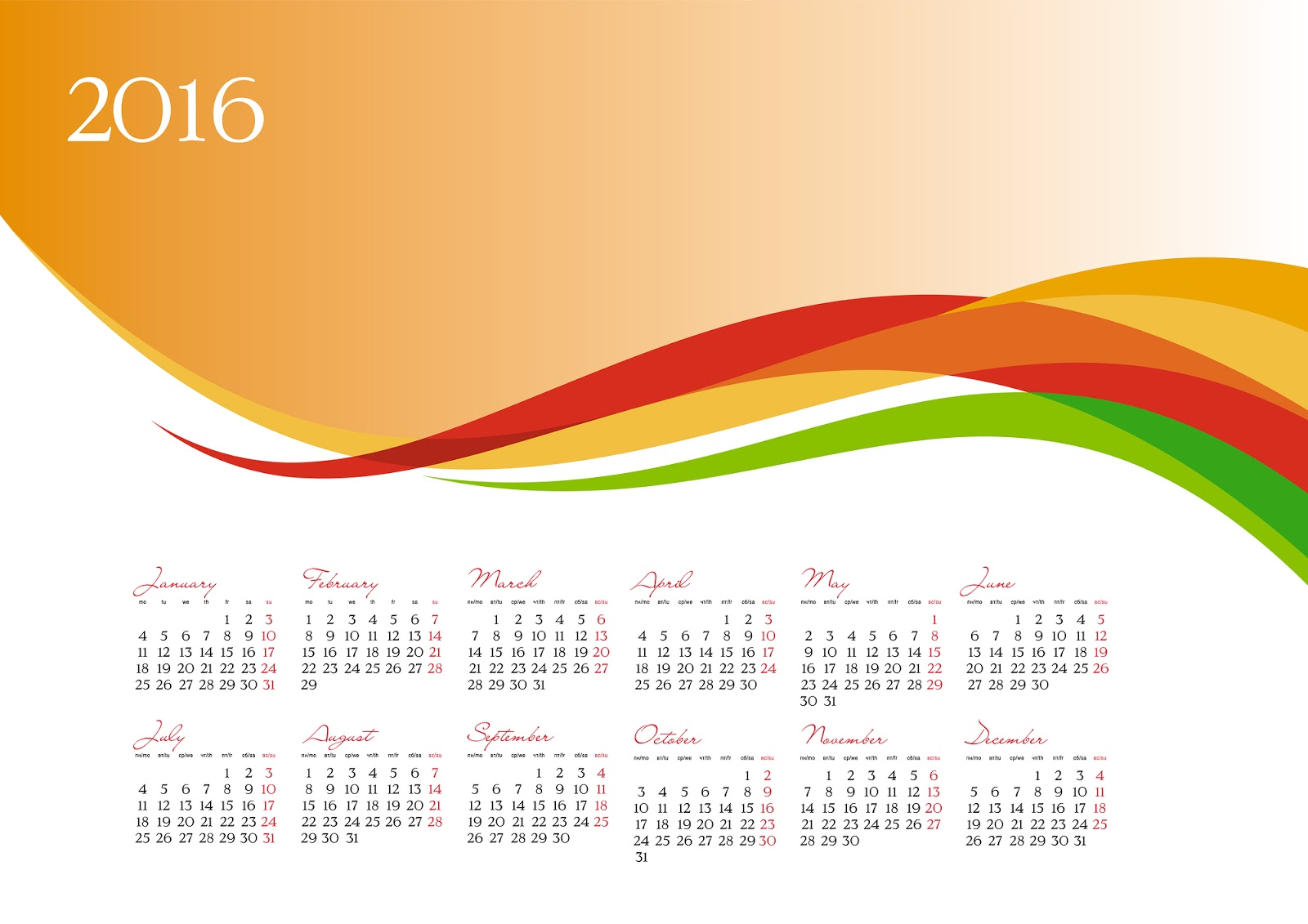 Desktop Wallpaper Calendar 2016