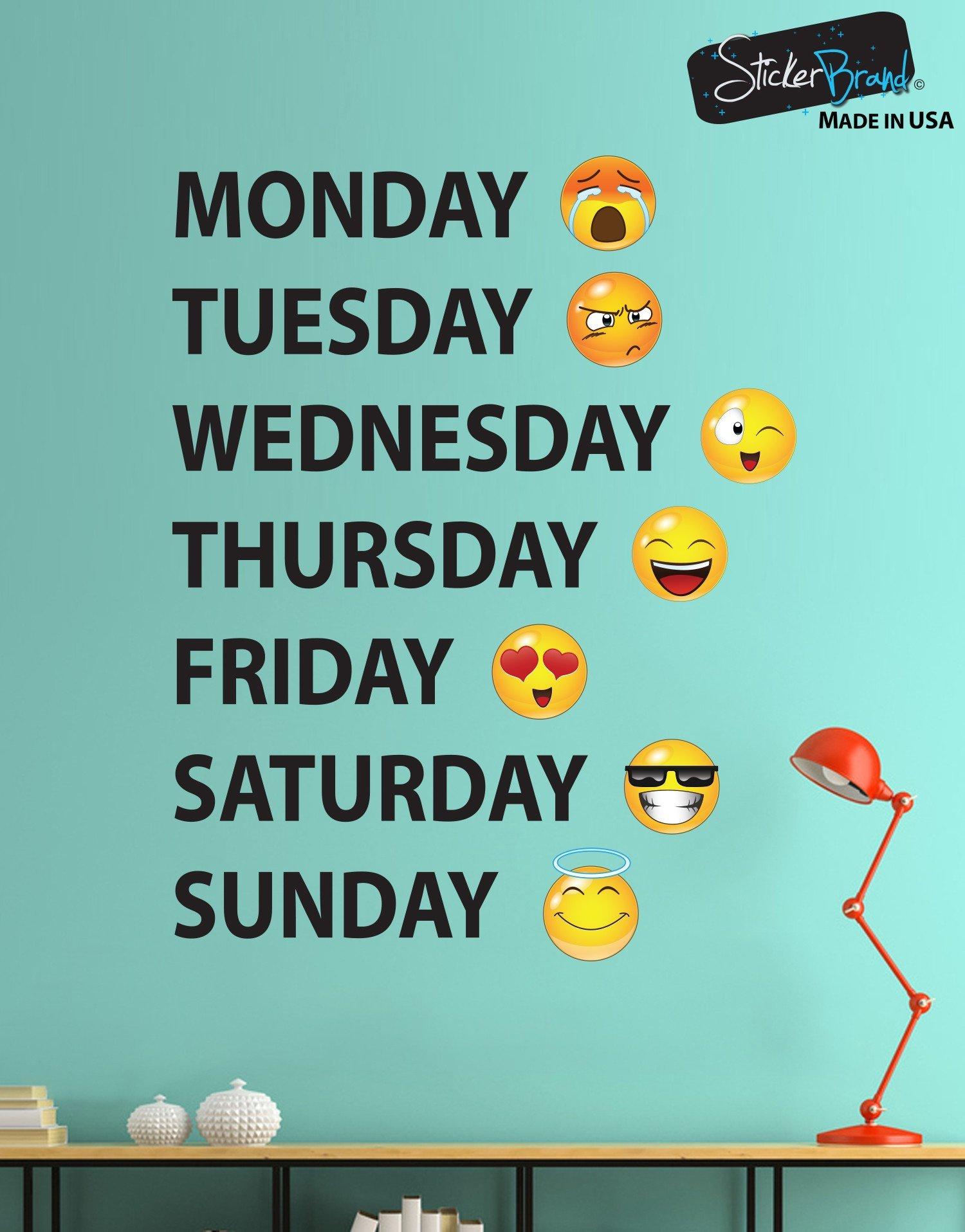 Days of the Week Emojis Vinyl Wall Decal Sticker 6071 StickerBrand 1500x1916