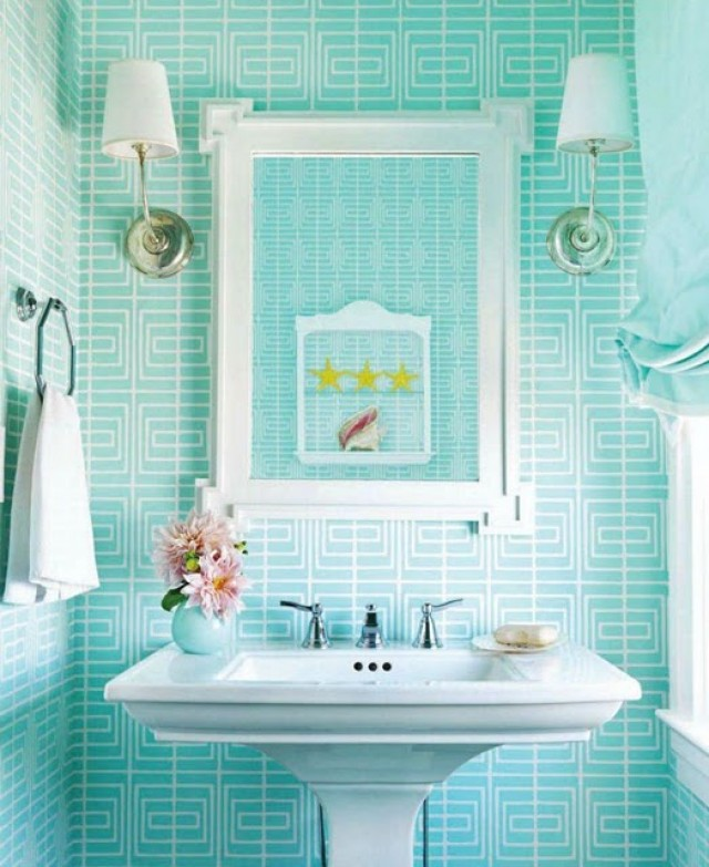 48 Aqua Bathroom Wallpaper On Wallpapersafari