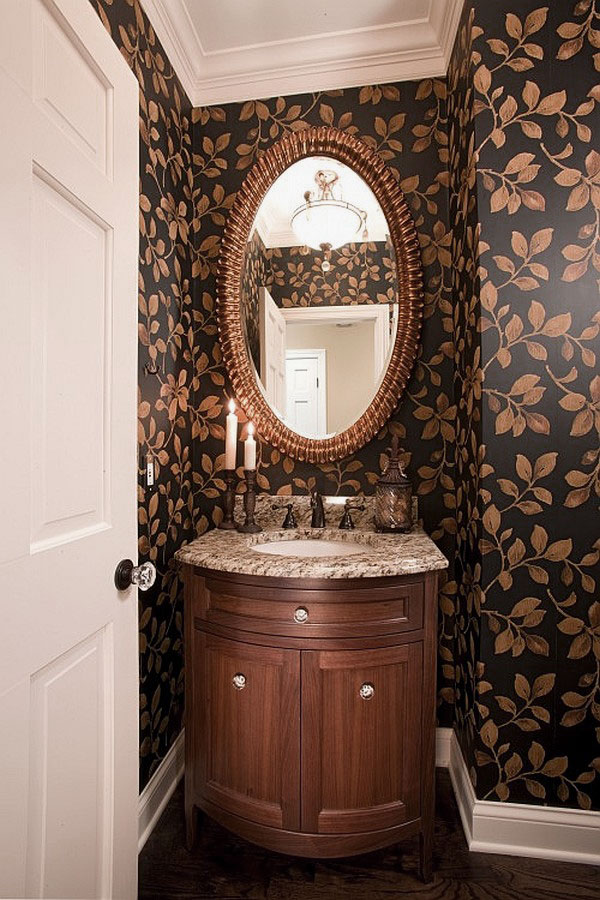 Room Design Ideas Images Powder Room Design with Floral Wallpaper 600x900