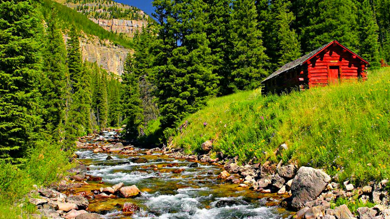 The Little Red Cabin Computer Wallpapers Desktop Backgrounds 1366x768