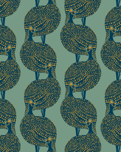 Mitas Co Lady Bird Vintage Mustard Designer Wallpaper 492x619