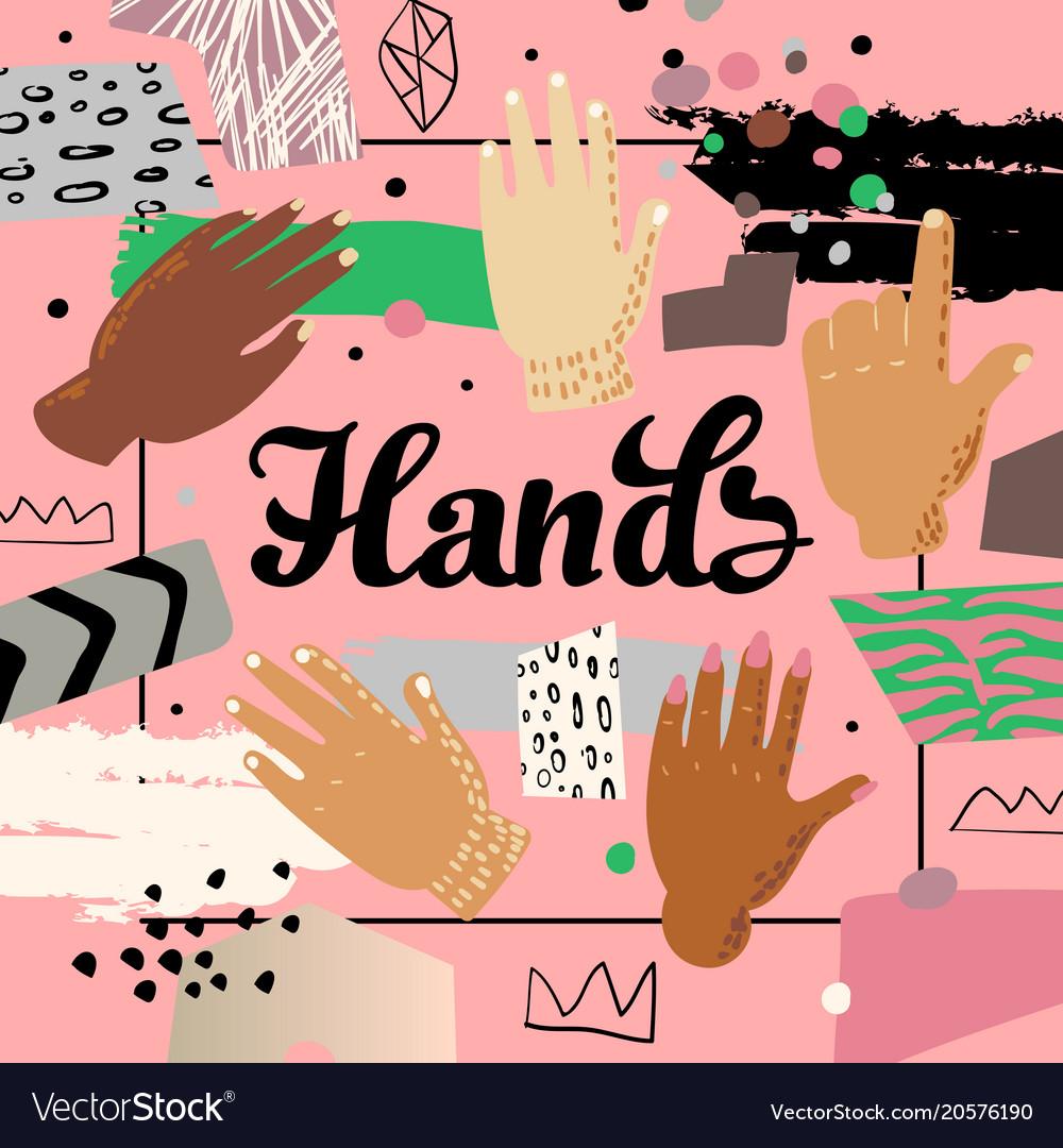 Multicultural hands design childish background Vector Image 1000x1080