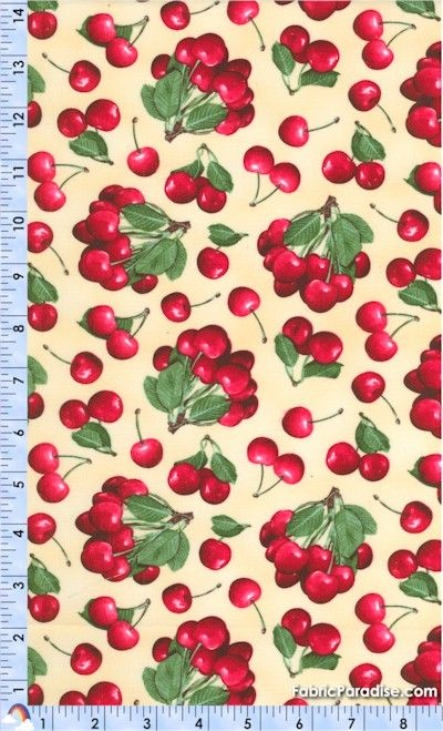 Vintage Cherry Fabric PATTERNS FRUITS AND VEGETABLES Pinterest 400x659