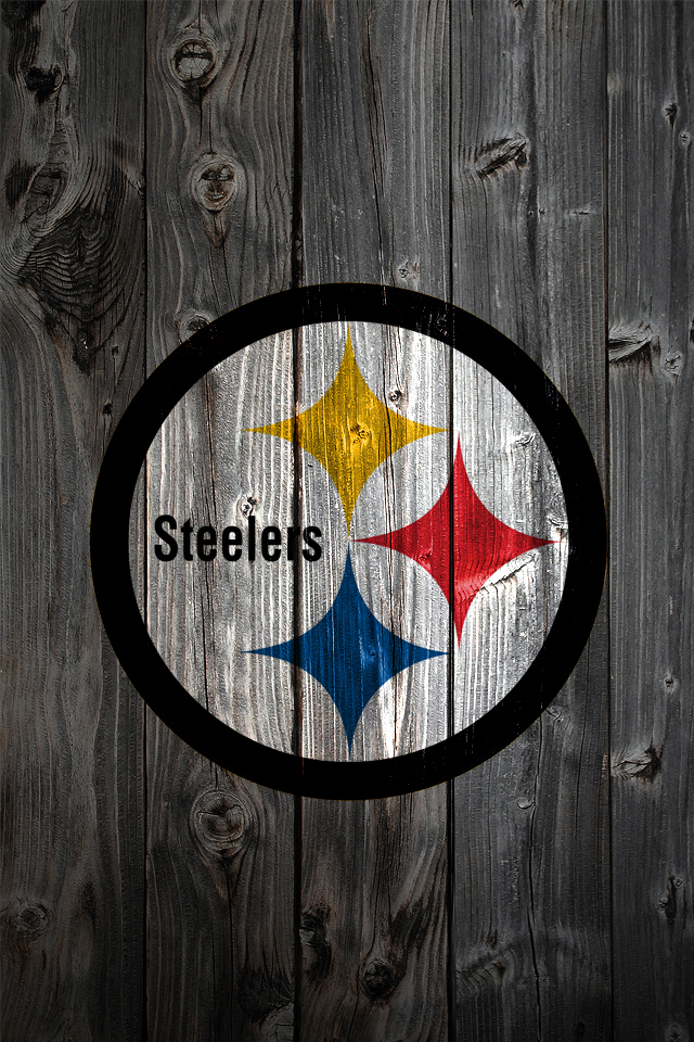 Pittsburgh Steelers Logo on Wood Background Download 640 x 960 640x960