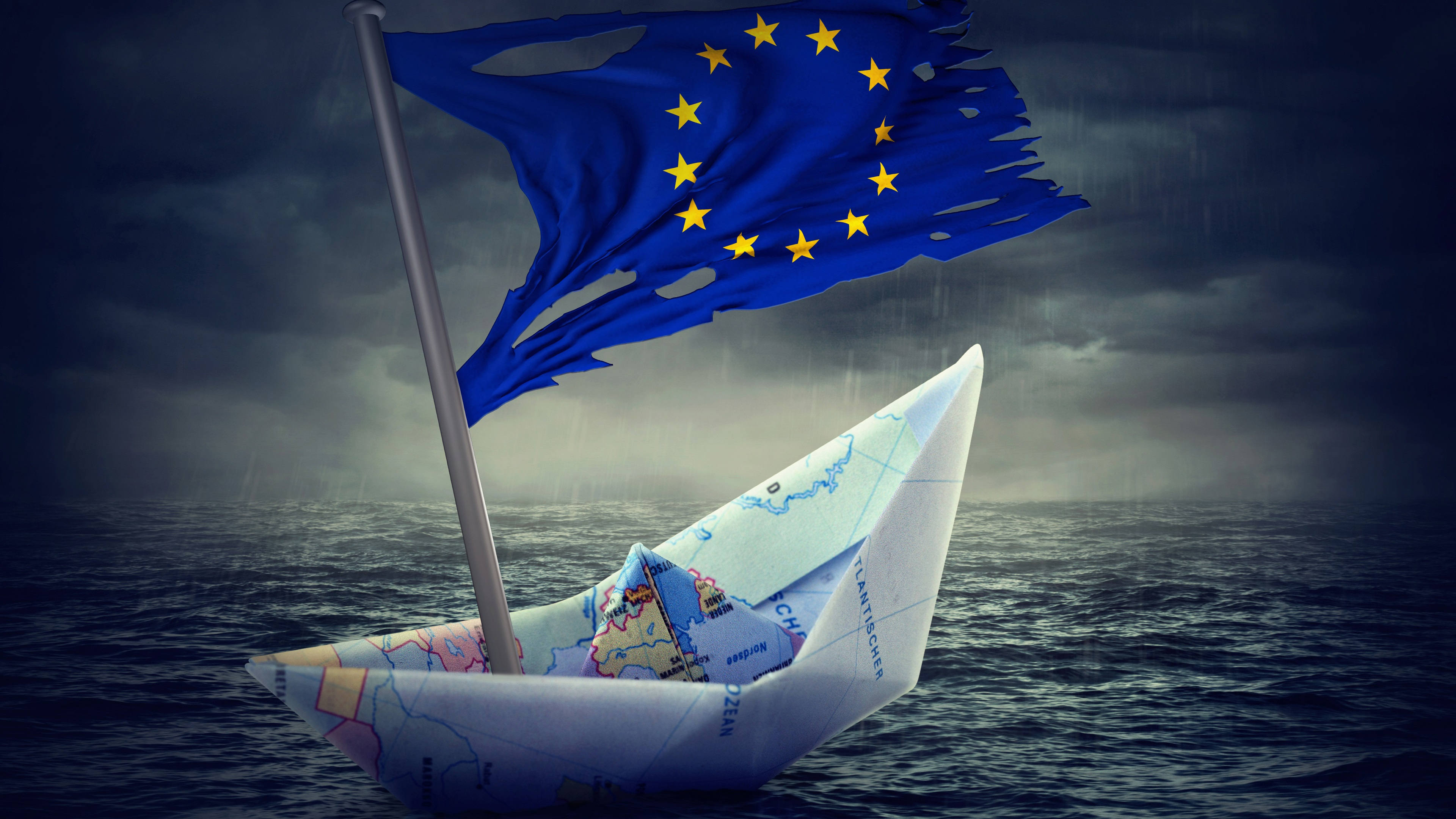 Wallpaper Paper boat Flag of Europe creative pictures 3840x2160 3840x2160