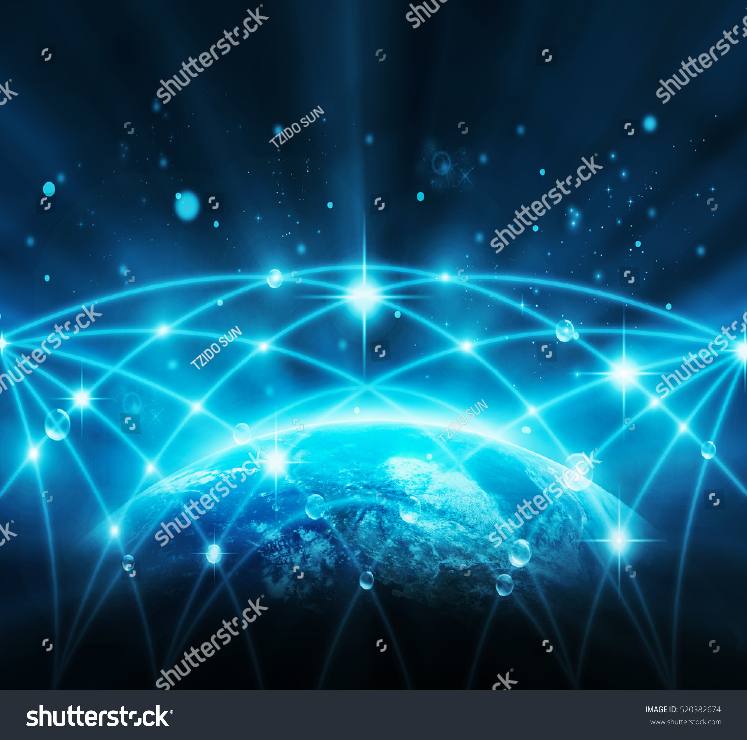 Part Earth Network Line Point On Stock Photo Edit Now 520382674 1500x1486