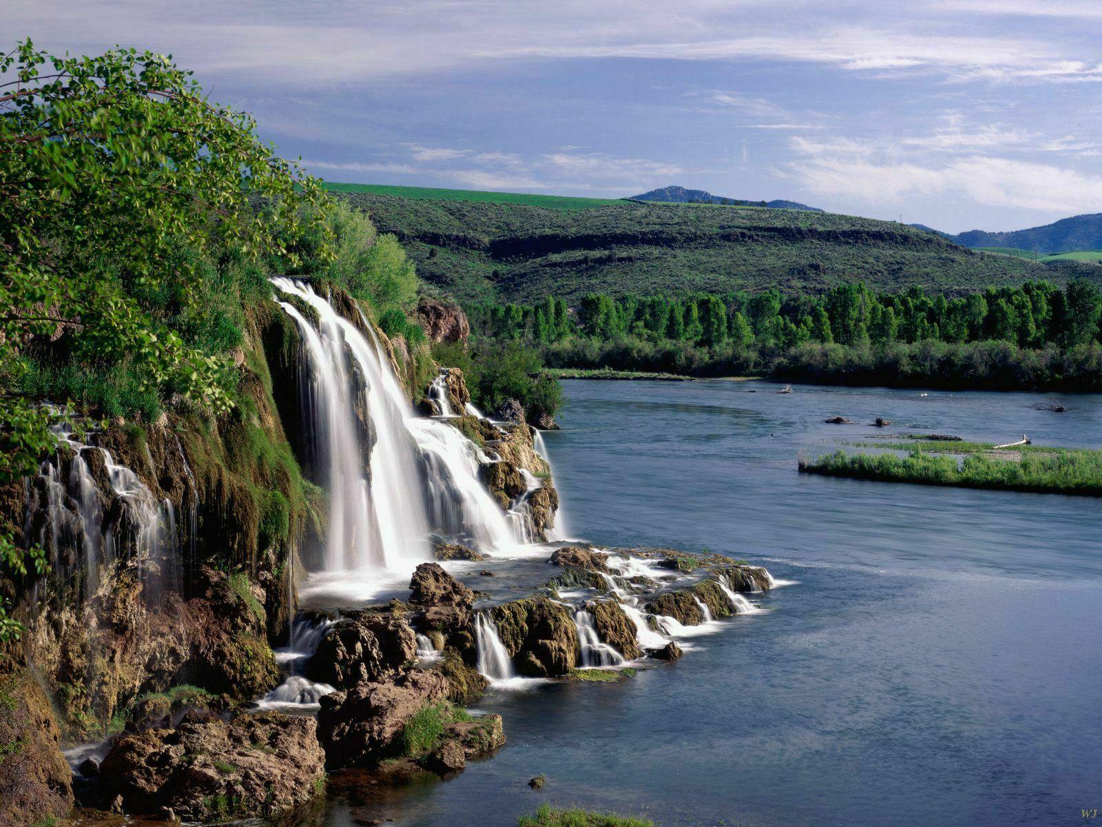 Landscape Fall Creek Falls And Snake River Idaho   Nature Wallpaper 1600x1200