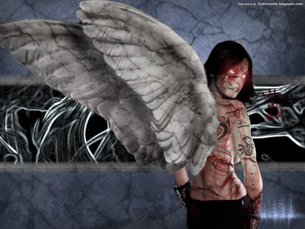Fallen Angel 1   Dark Gothic Wallpapers   FREE Gothic 1024x768