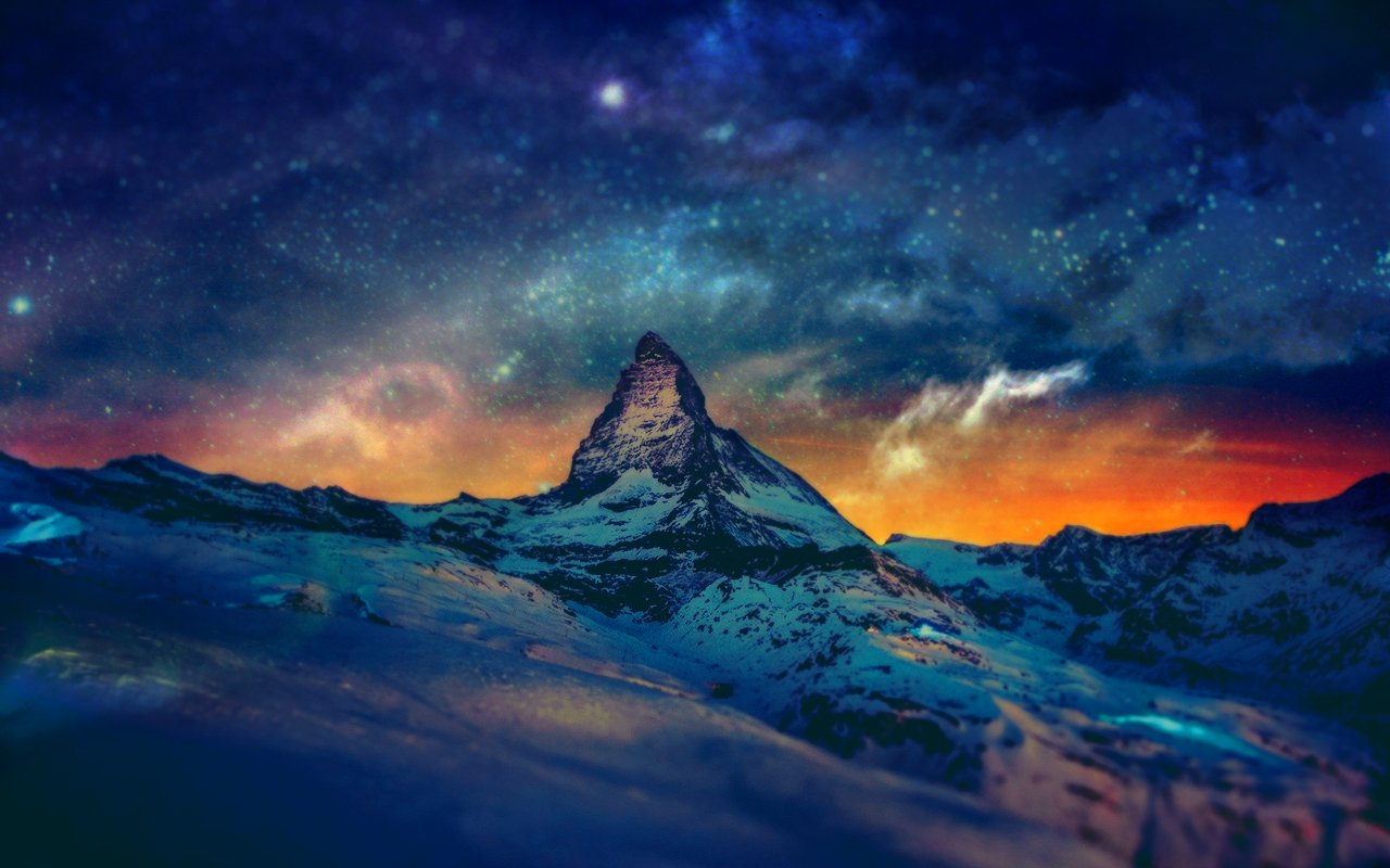 1366x768 mountain night stars - photo #27