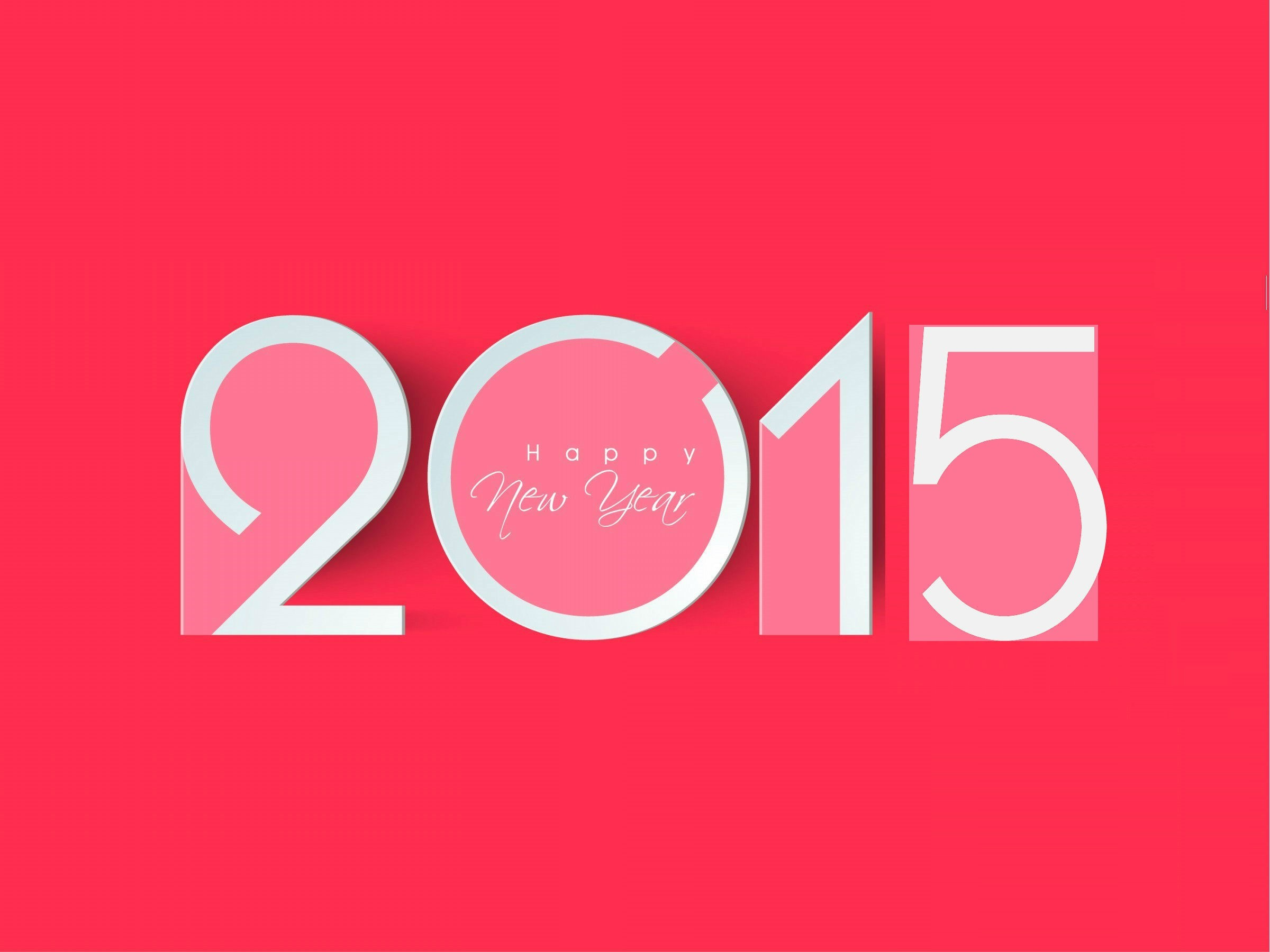 Popular Happy New Year 2015 in Pink Color Background HD Wallpaper 2400x1800