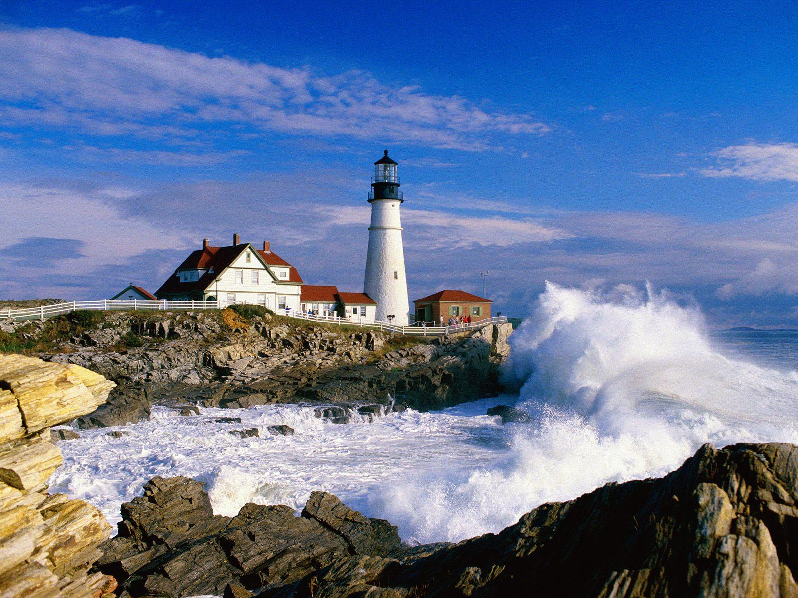 Buildings Lighthouse Portland Head Light Cape Elizabeth Maine 1600x1200