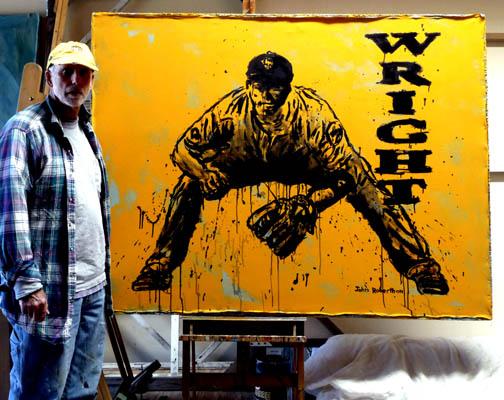 Sports Painting David Wright NY Mets Baseball Painting 504x400