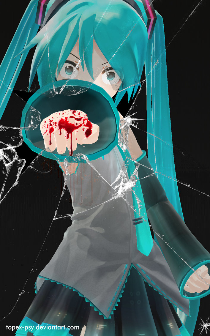 MMD Hatsune Miku Punch Broken Glass Wallpaper by topex psy on 707x1131