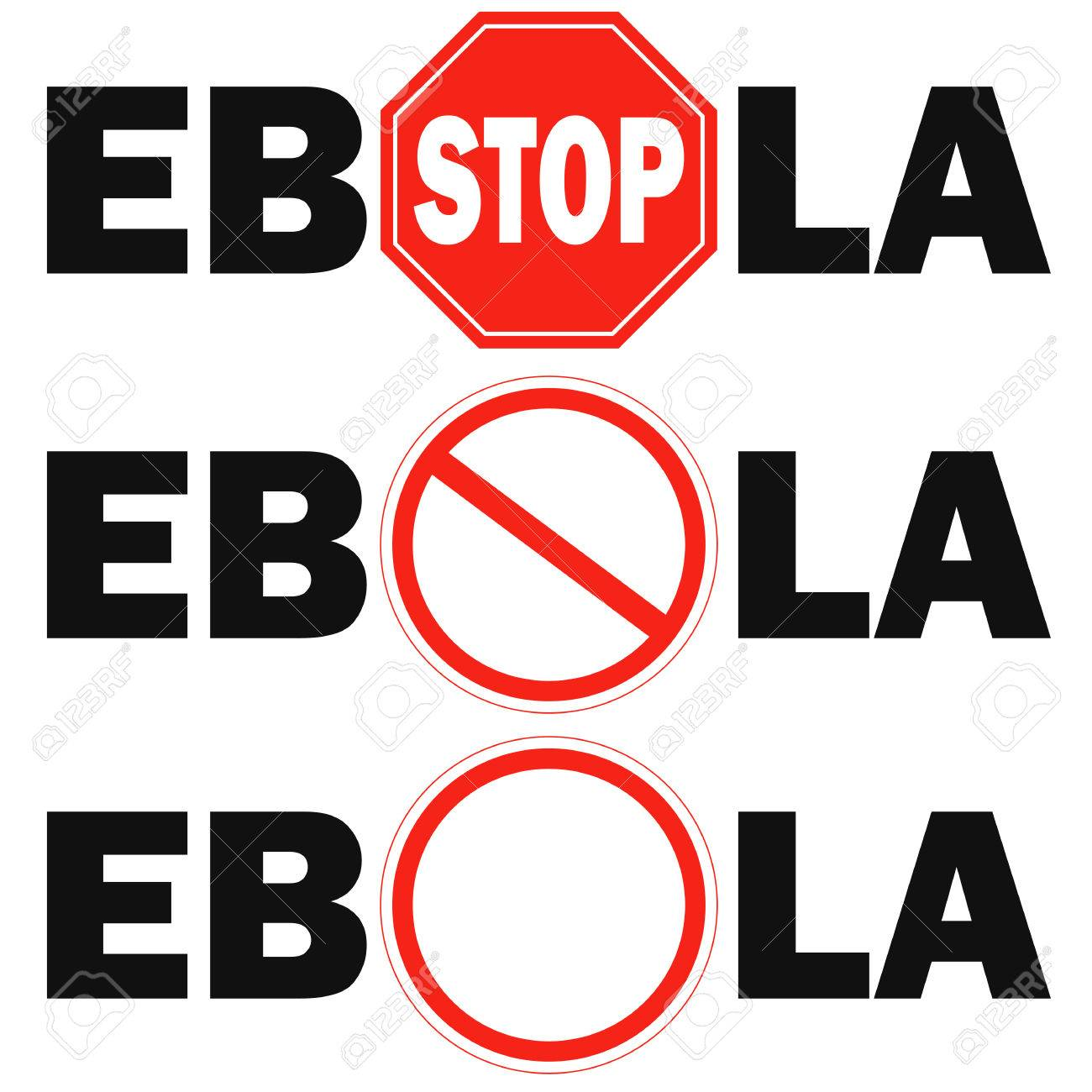 3 Stop Sign Ebola Virus On White Background Royalty Cliparts 1300x1300