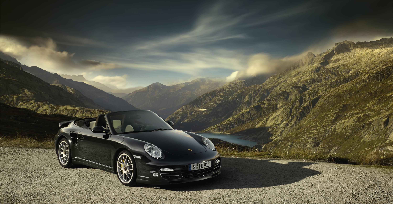 Porsche 911 Turbo Black HD Wallpaper Background Images 3000x1560