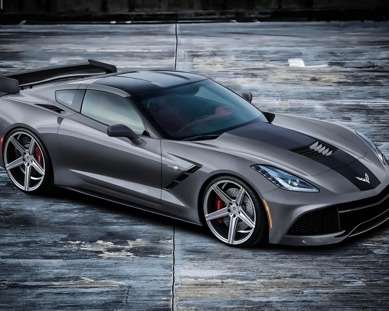 ... Corvette C7 Stingray grau supercar Hintergrundbilder - 1280x1024