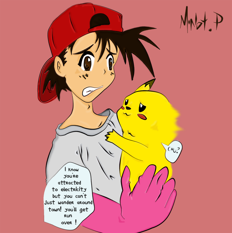 ash and pikachu by minotcp 800x802