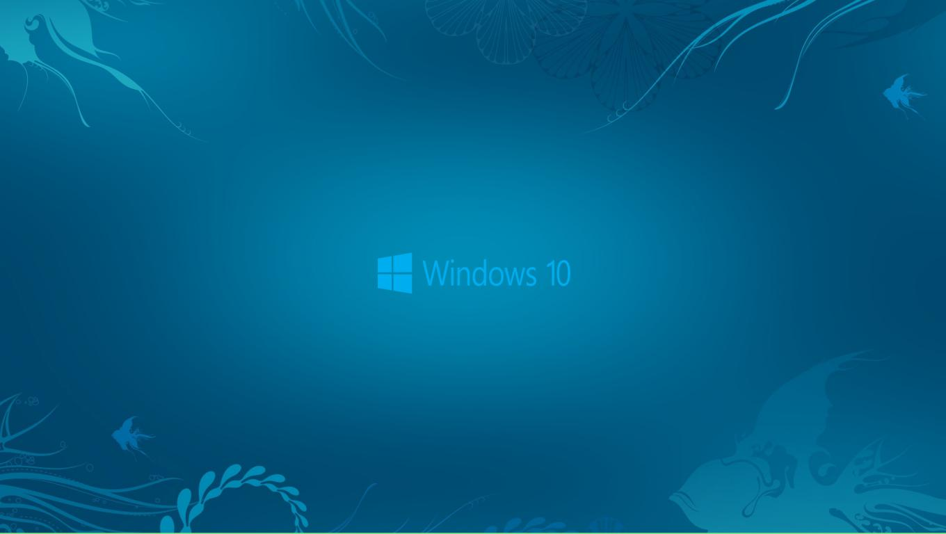 Windows 10 Wallpaper in Abstract Deep Blue See and New Logo HD 1360x768