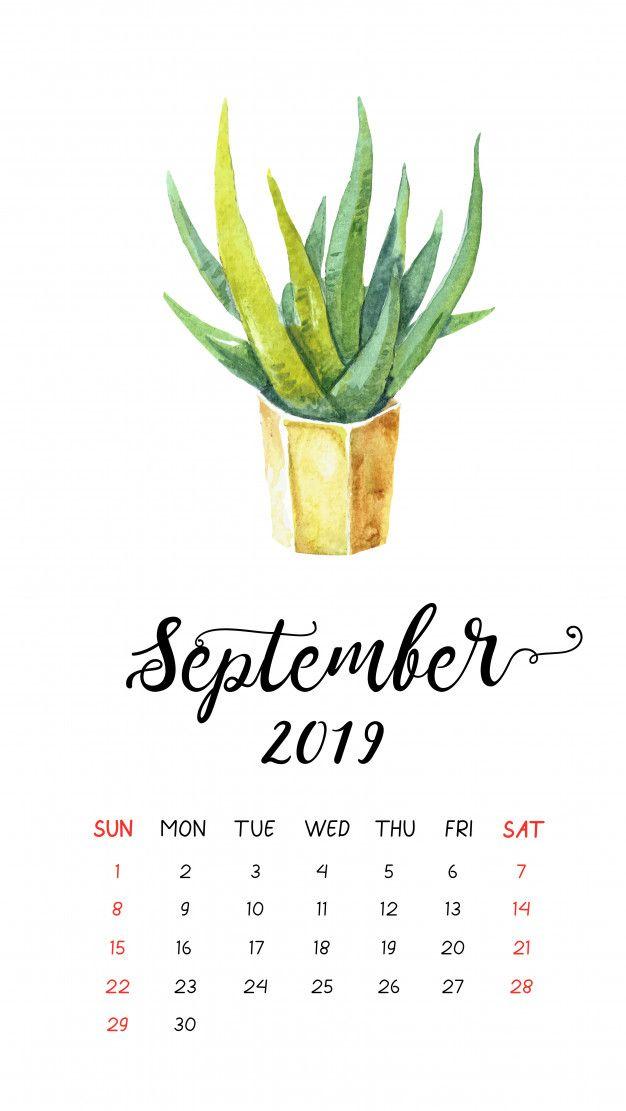 Watercolor cactus calendar for September 2019 Premium Vector 626x1111