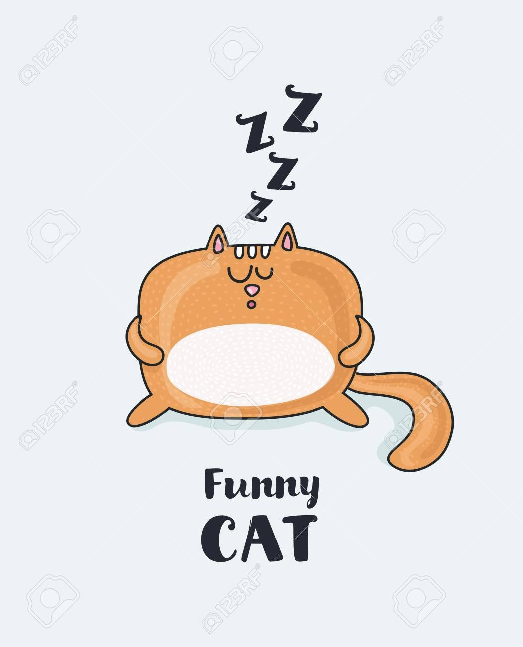 Vector Cartoon Funny Illustration Of Sleepy Fat Funny Red Snoring 1051x1300