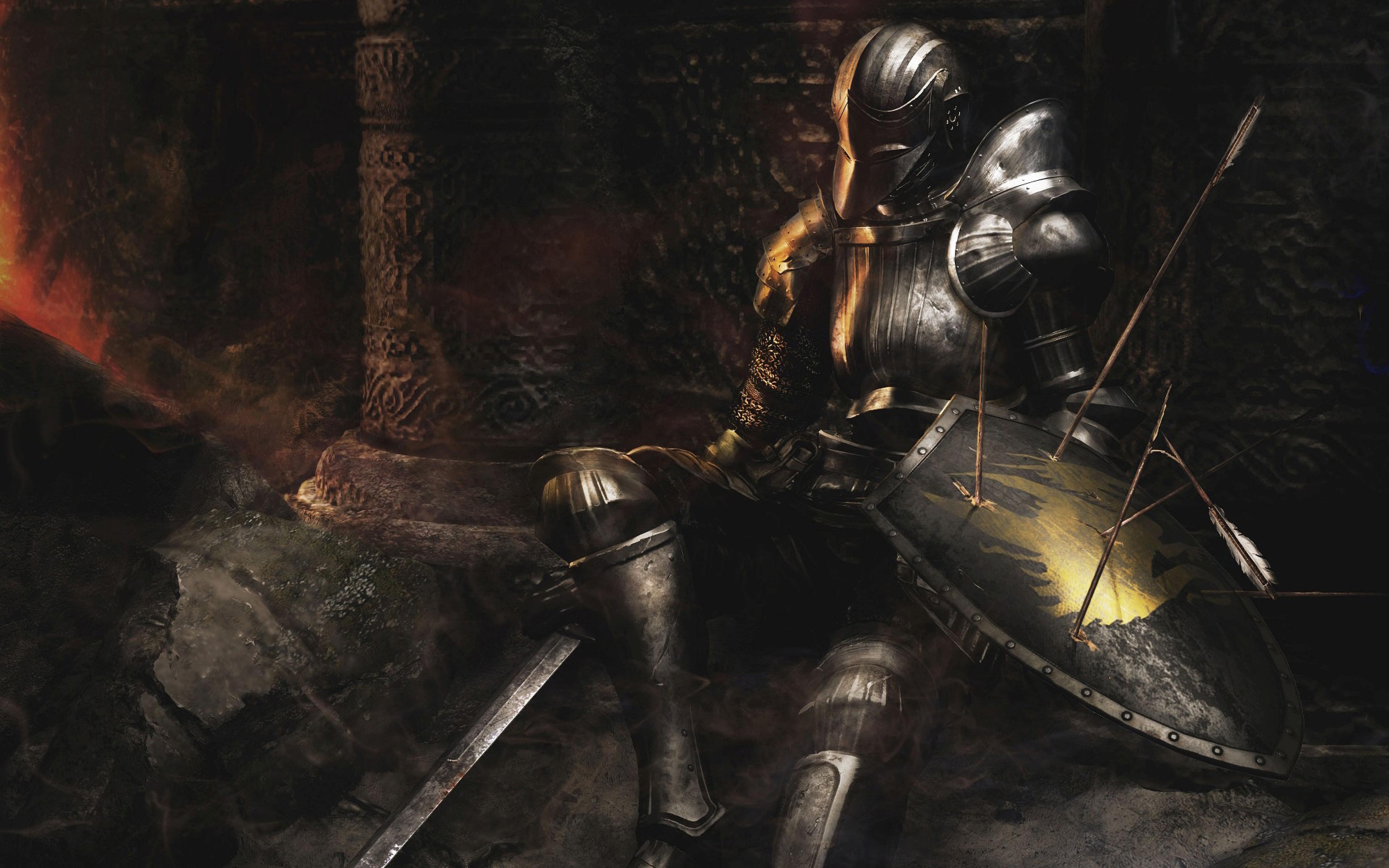 Download Wallpaper 3840x2400 dark souls armor shiled arrows sword 3840x2400