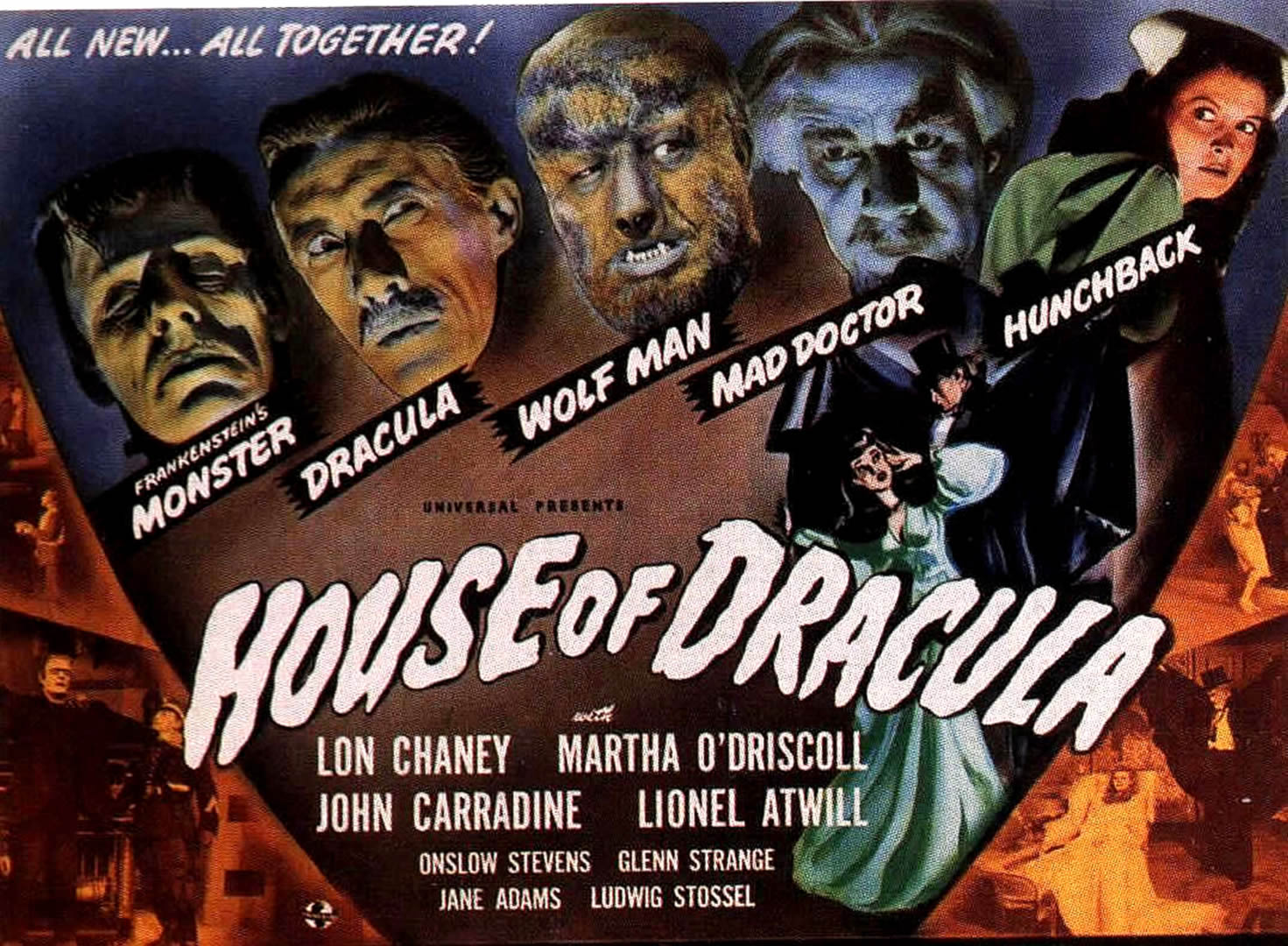 HOUSE OF DRACULA   Vintage 1940s Movie Posters Wallpaper Image 1471x1080