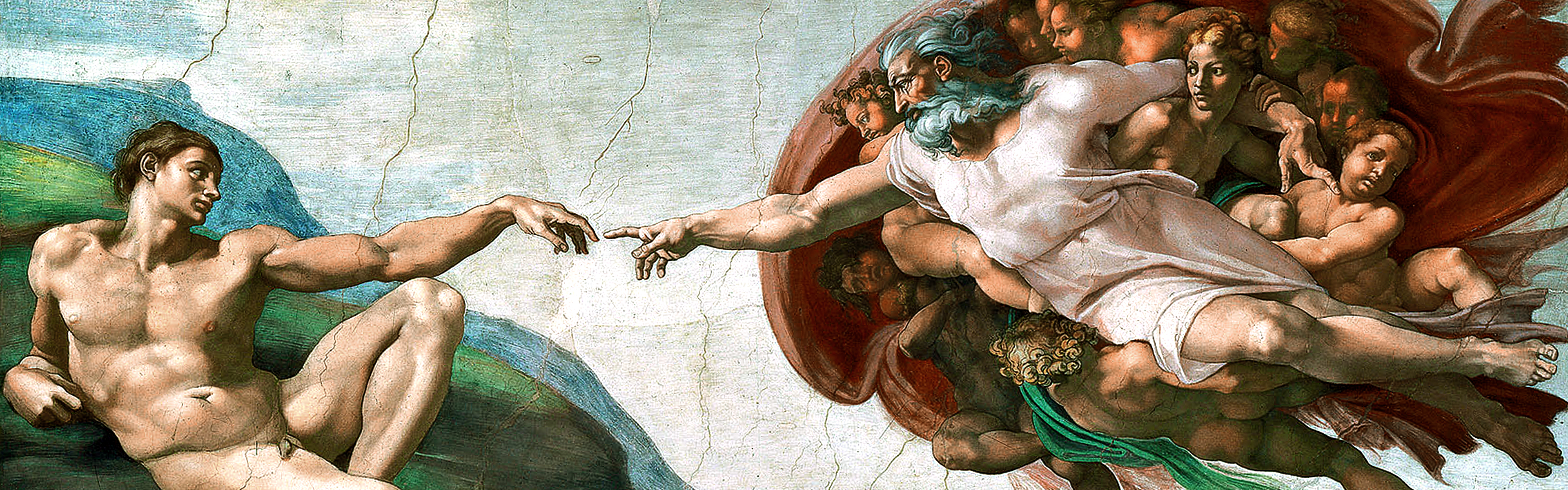 paintings Michelangelo The Creation of Adam Sistine Chapel 3840x1200