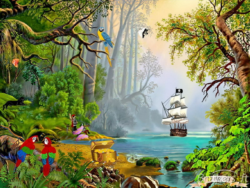Treasures Island - Tropical island, pirate schooner in lagune ...