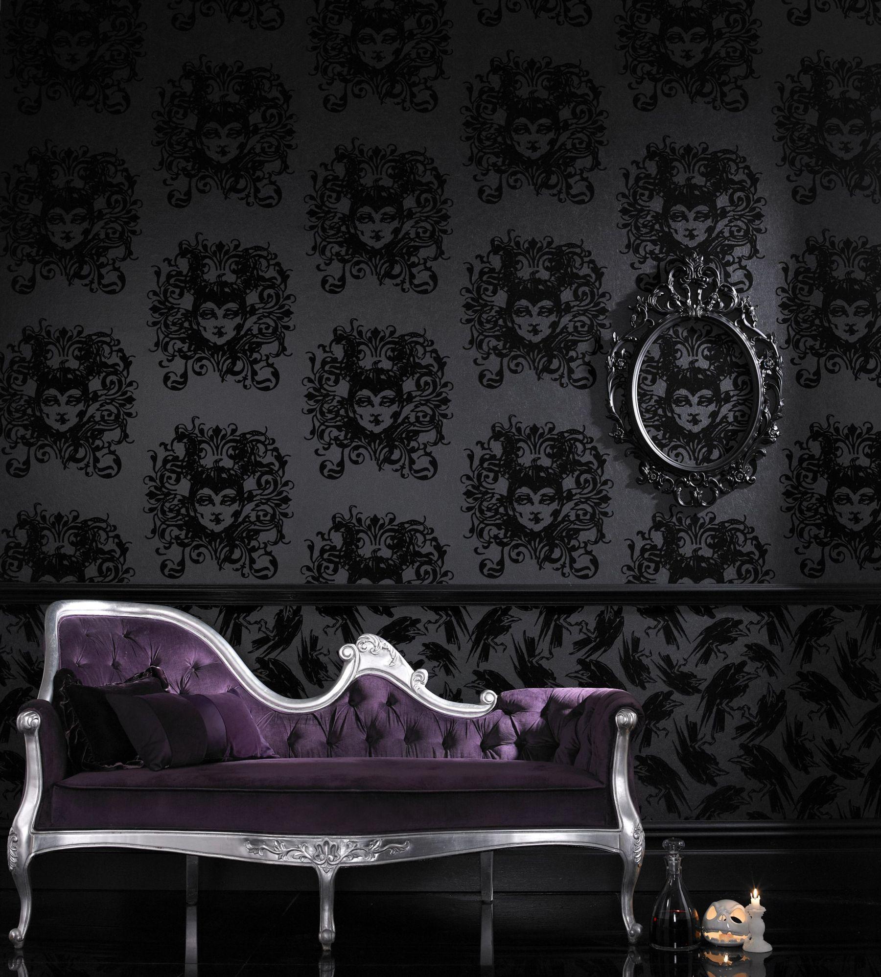 Gothic Design Wallpaper : Bat and poppy wallpaper wallpapersafari