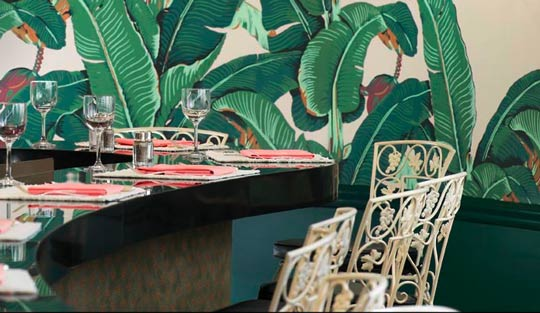 Banana Leaf Martinique Wallpaper at The Fountain Room at The Beverly 540x313