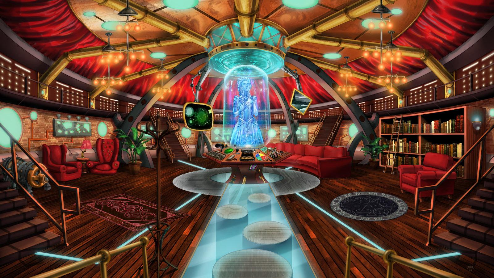 Steampunk TARDIS Interior Console Room by Wonderwig 1600x900