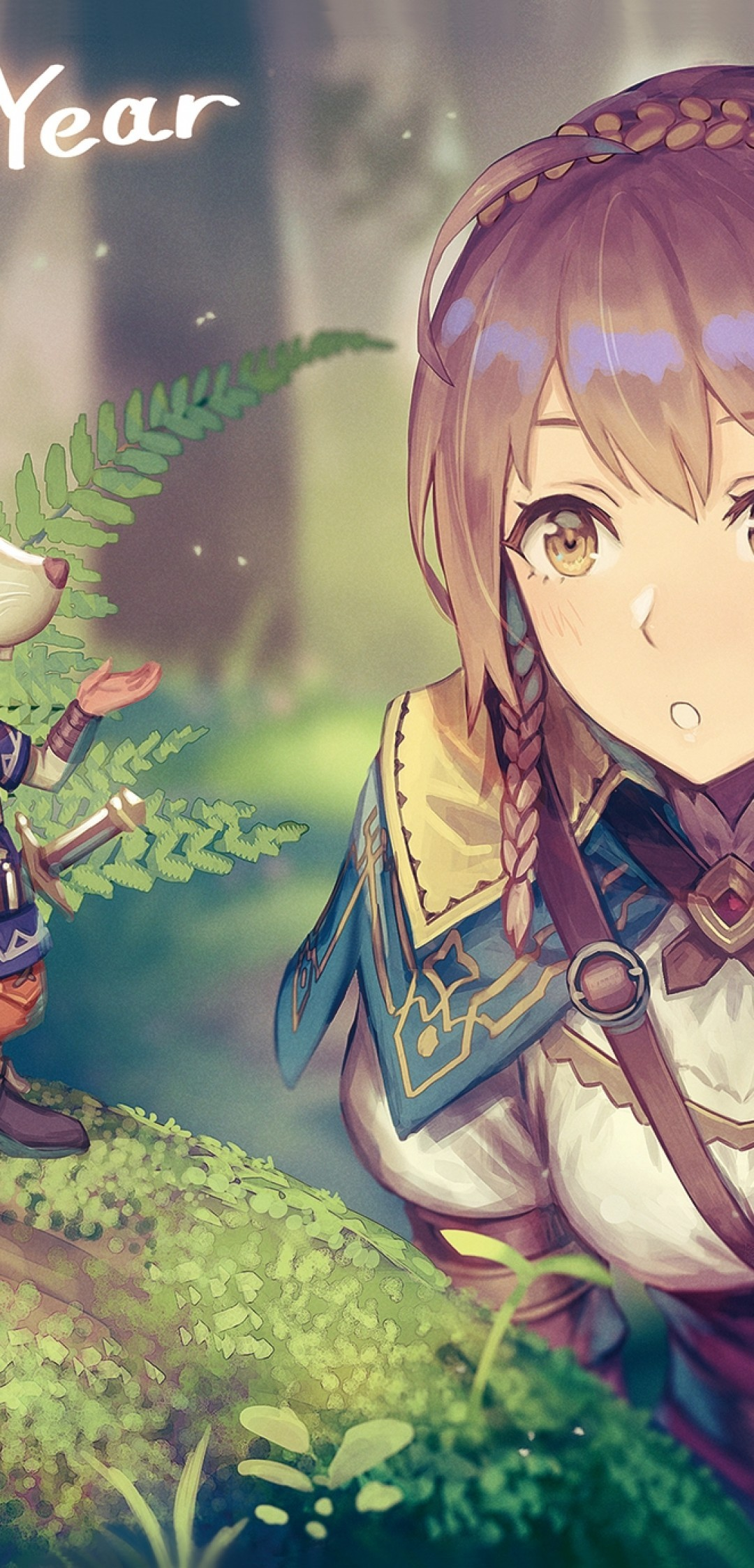 Download 1080x2246 Anime Girl Adventurer Forest Light Armor 1080x2246