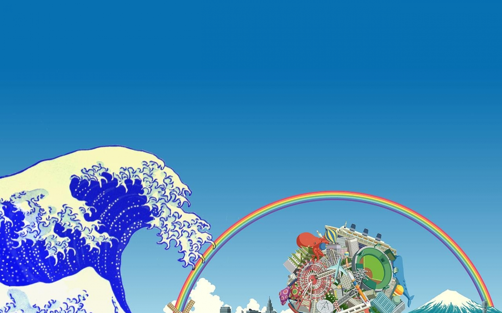 katamari damacy the great wave off kanagawa 1280x1024 wallpaper Art HD 1680x1050
