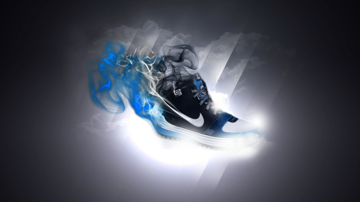 3d nike shoes backgrounds wallpapersjpg 1366x768