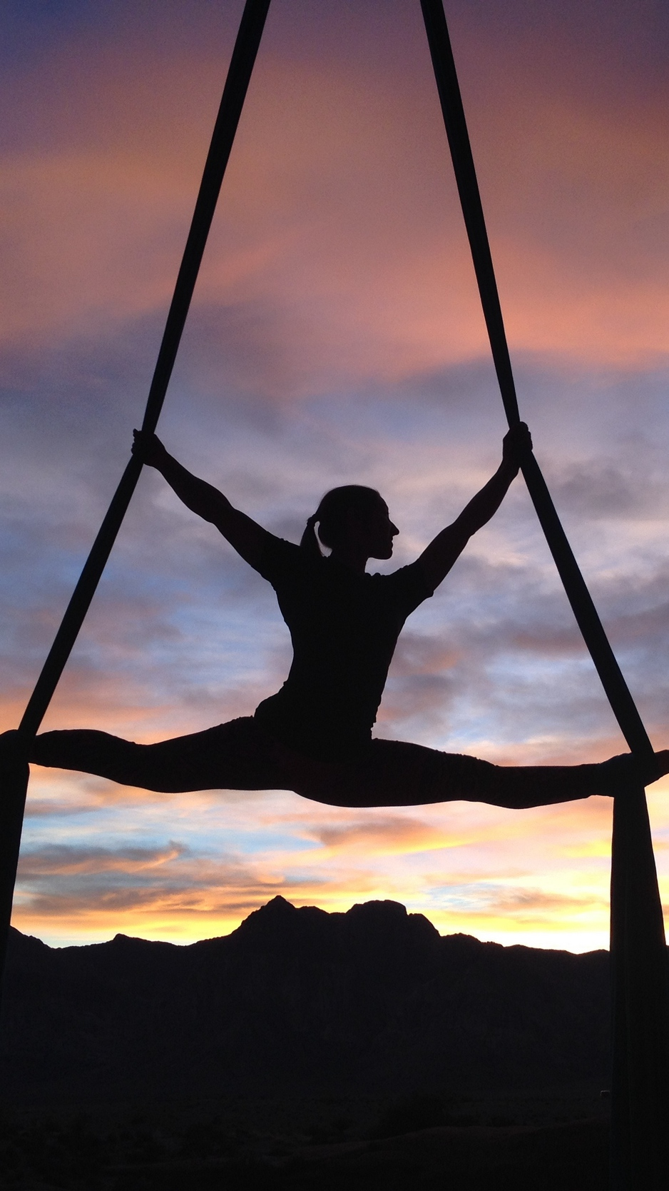 Download wallpaper 938x1668 silhouette air gymnast girl gymnast 938x1668