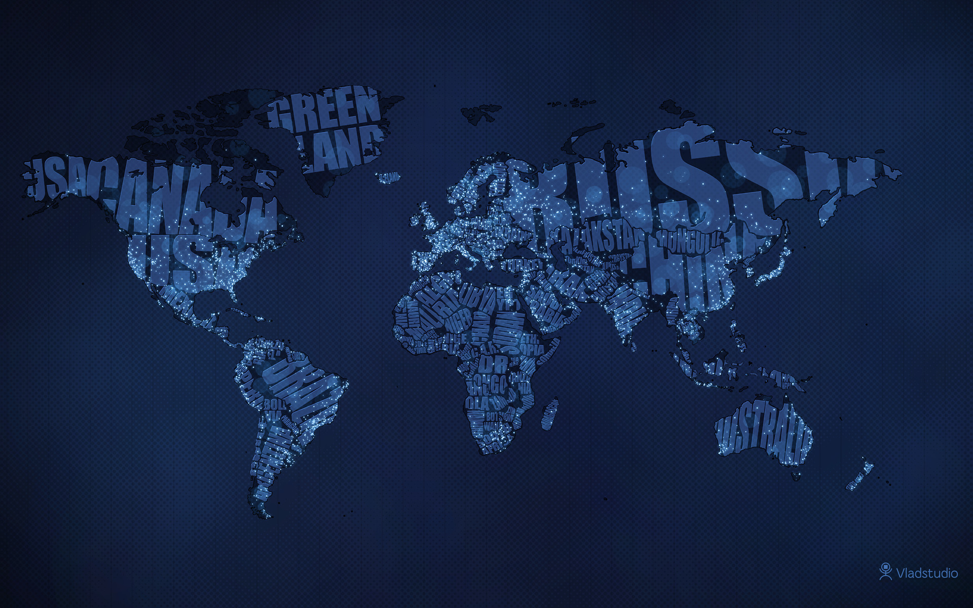 Typographic World Map Night HD Wallpaper Theme Bin   Customization 1920x1200
