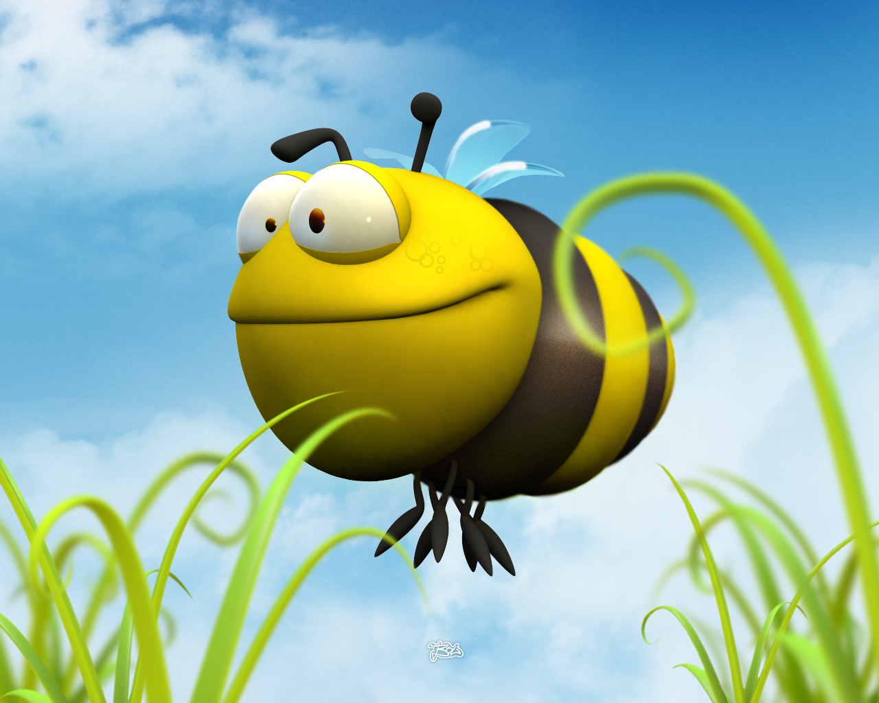Funny 3D Bumble Bee wallpaper 1280x1024