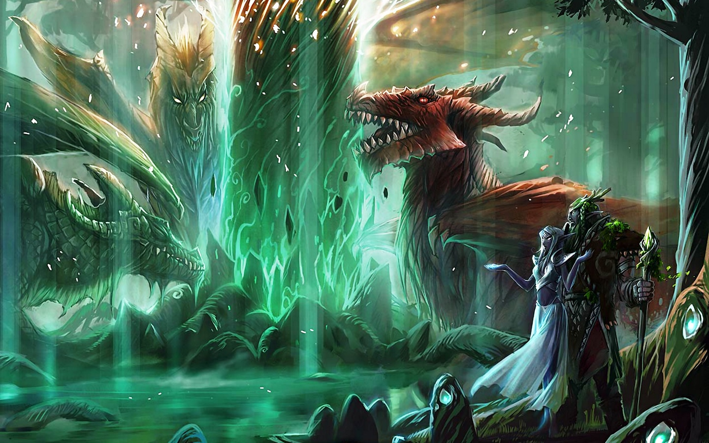 Great Green World of Warcraft game picture with dragons and fire 1440x900